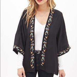 Boho Black Embroidered Kimono
